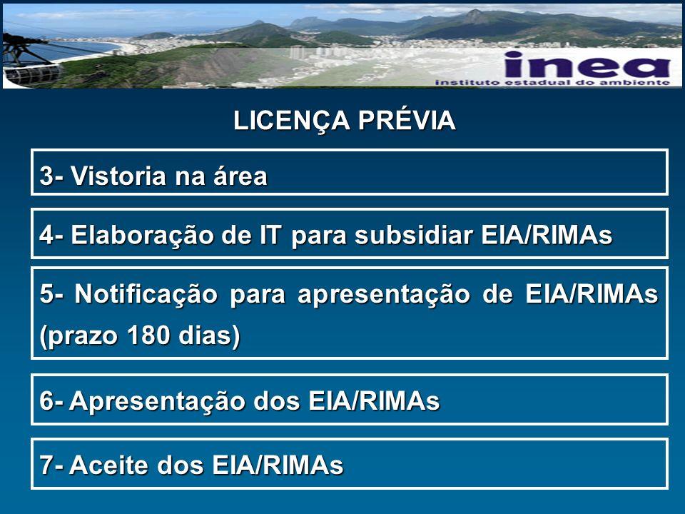 LICENÇA PRÉVIA 3- Vistoria na área. 4- Elaboração de IT para subsidiar EIA/RIMAs.