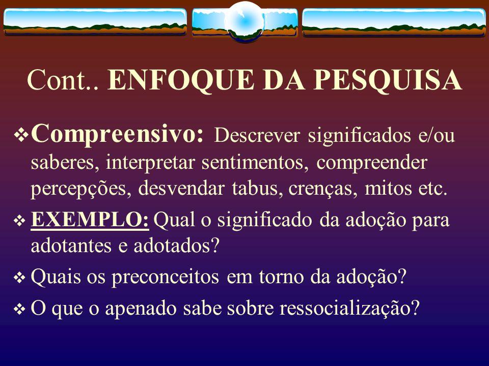 Cont.. ENFOQUE DA PESQUISA