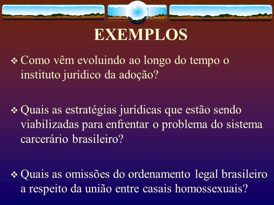 EXEMPLOS Como vêm evoluindo ao longo do tempo o instituto jurídico da adoção