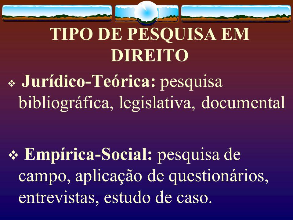 TIPO DE PESQUISA EM DIREITO