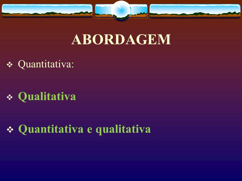 ABORDAGEM Quantitativa: Qualitativa Quantitativa e qualitativa