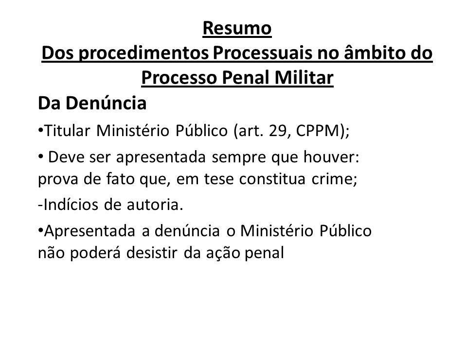 Resumo Dos procedimentos Processuais no âmbito do Processo Penal Militar