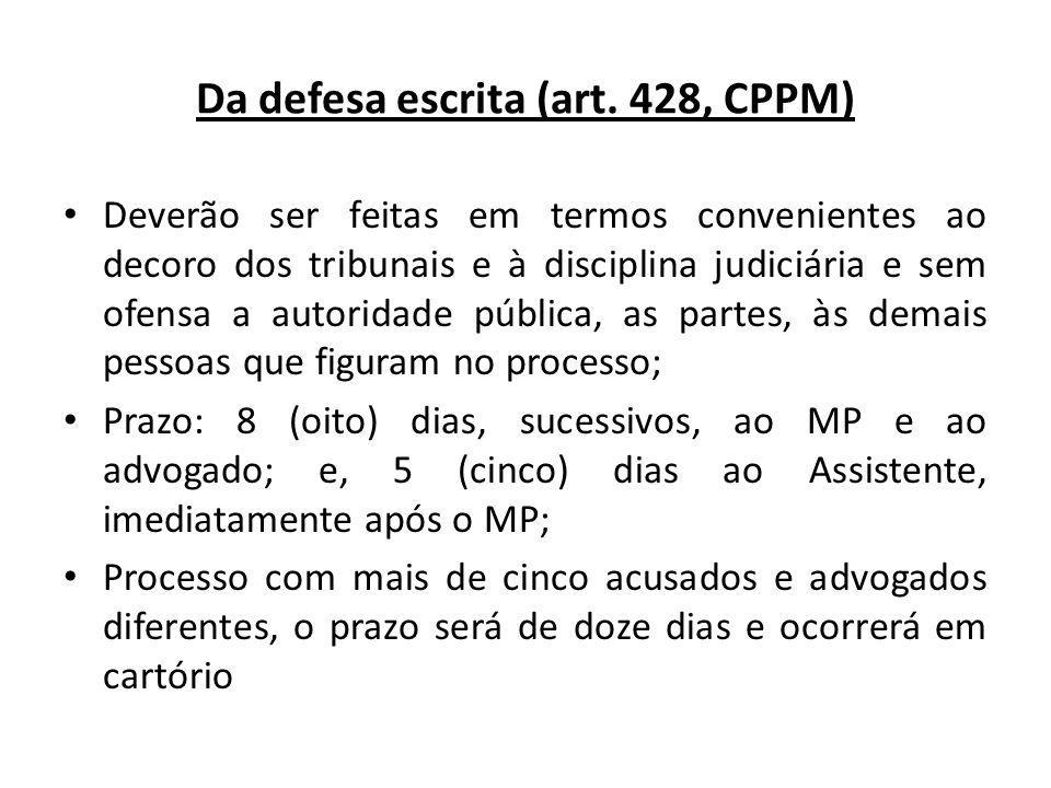 Da defesa escrita (art. 428, CPPM)