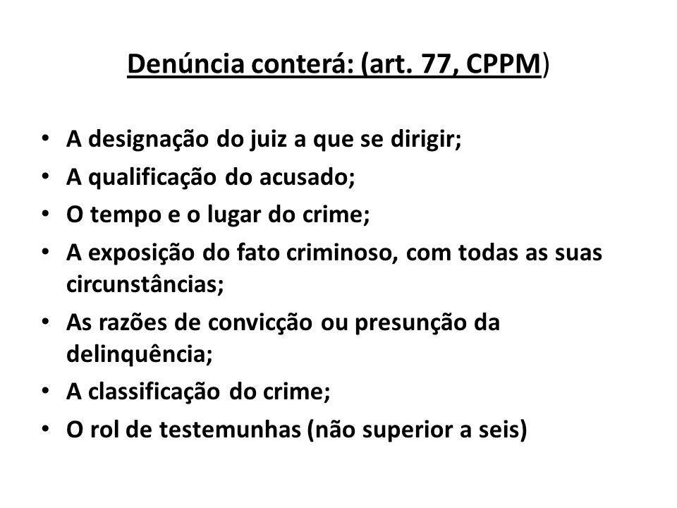 Denúncia conterá: (art. 77, CPPM)