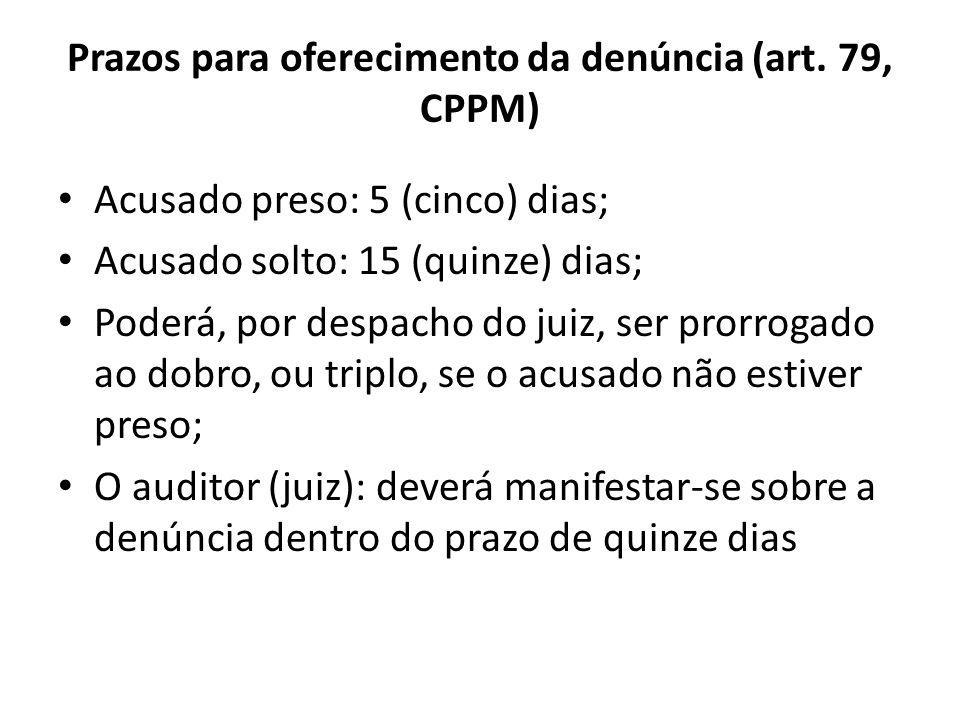 Prazos para oferecimento da denúncia (art. 79, CPPM)