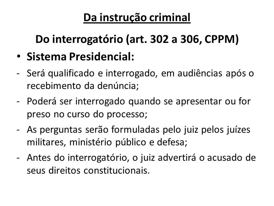 Do interrogatório (art. 302 a 306, CPPM)