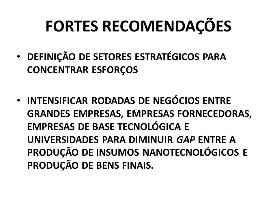 FORTES RECOMENDAÇÕES DEFINIÇÃO DE SETORES ESTRATÉGICOS PARA CONCENTRAR ESFORÇOS.