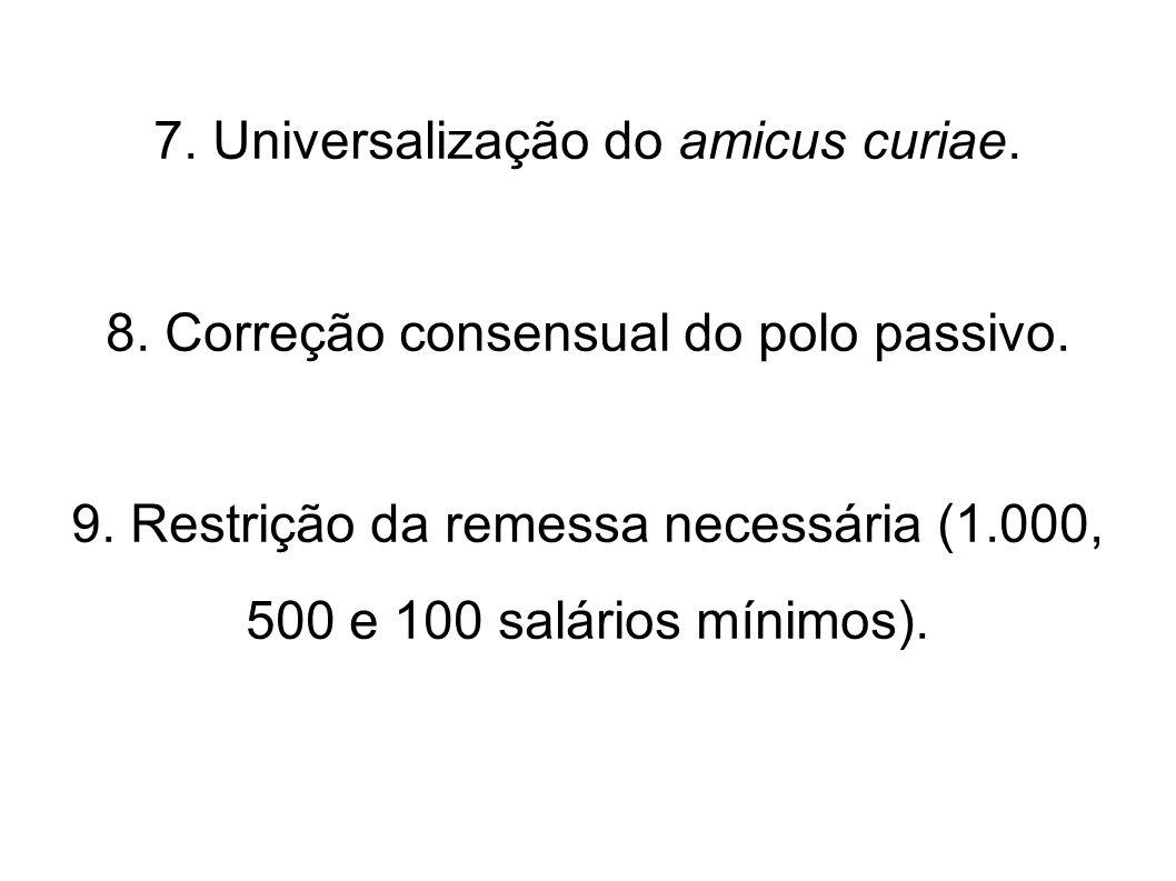 7. Universalização do amicus curiae.
