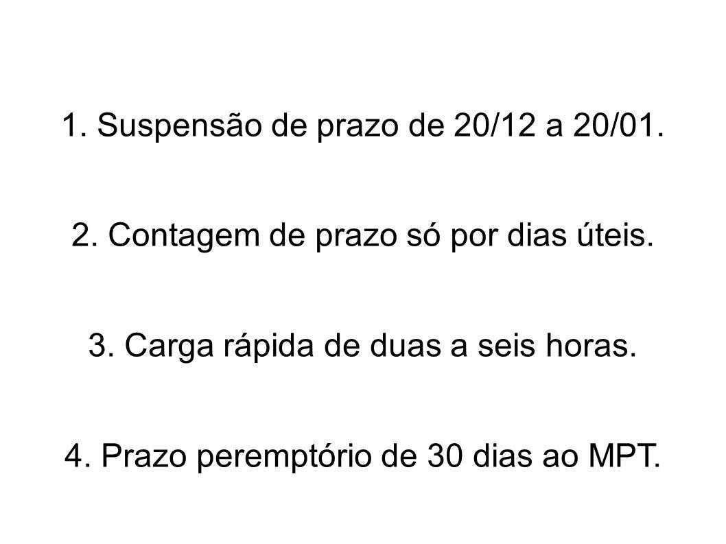 1. Suspensão de prazo de 20/12 a 20/01.
