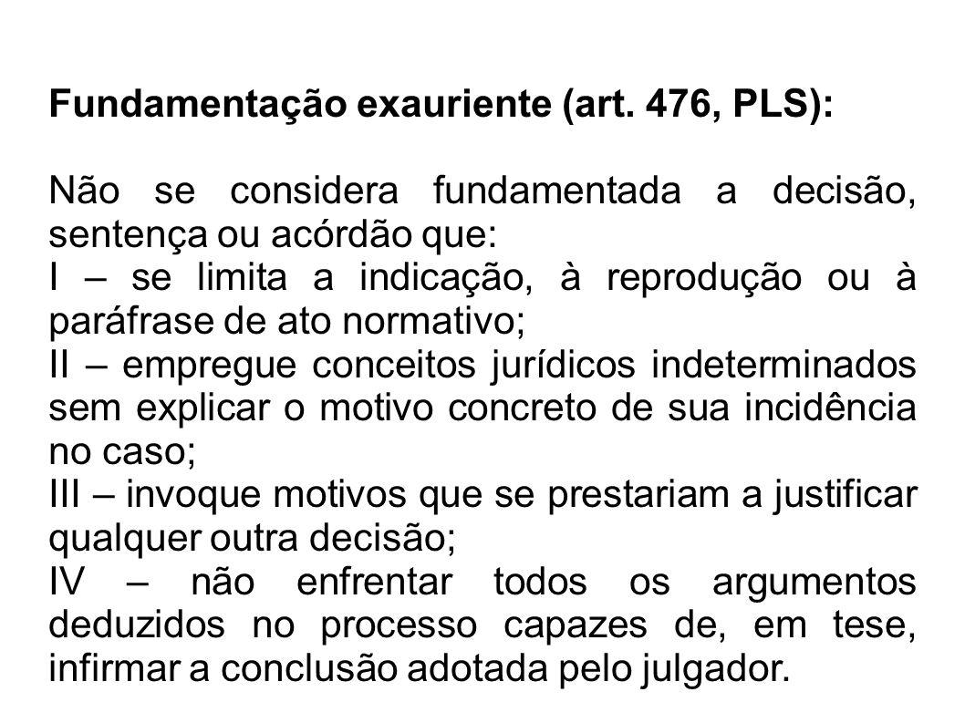Fundamentação exauriente (art. 476, PLS):