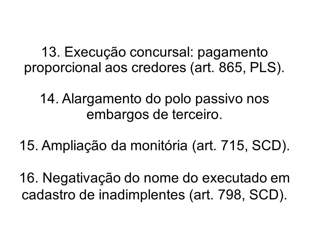 14. Alargamento do polo passivo nos embargos de terceiro.