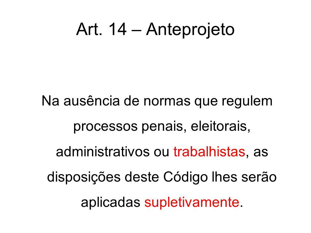 Art. 14 – Anteprojeto