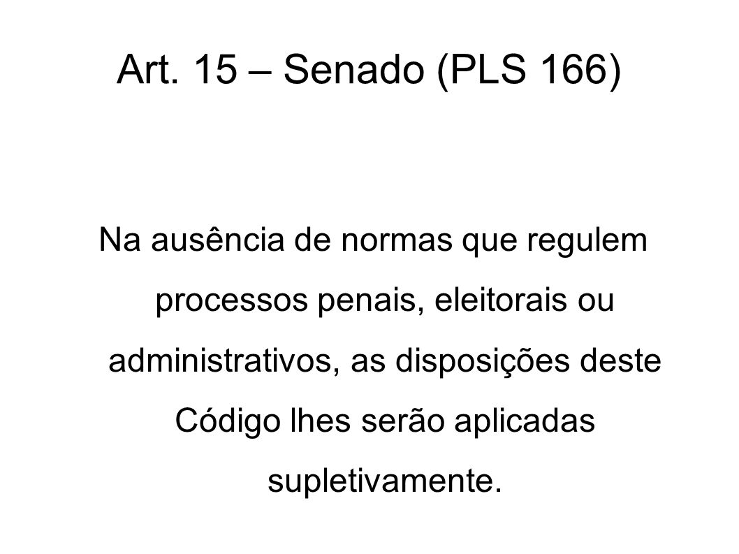 Art. 15 – Senado (PLS 166)