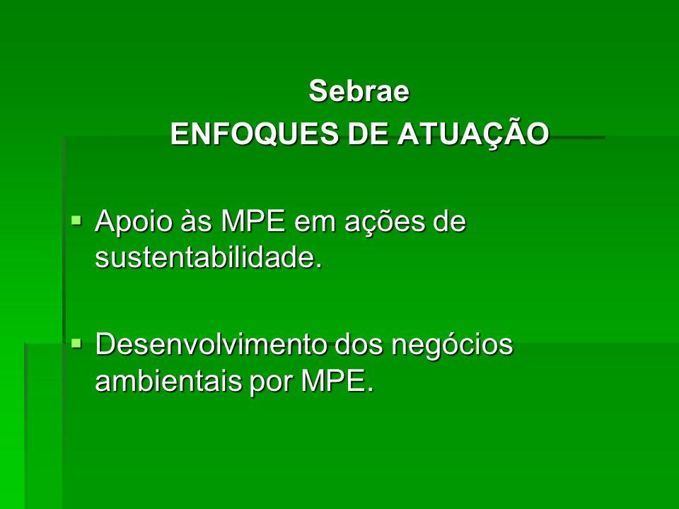 Sebrae ENFOQUES DE ATUAÇÃO. Apoio às MPE em ações de sustentabilidade.