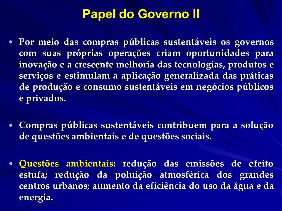 Papel do Governo II