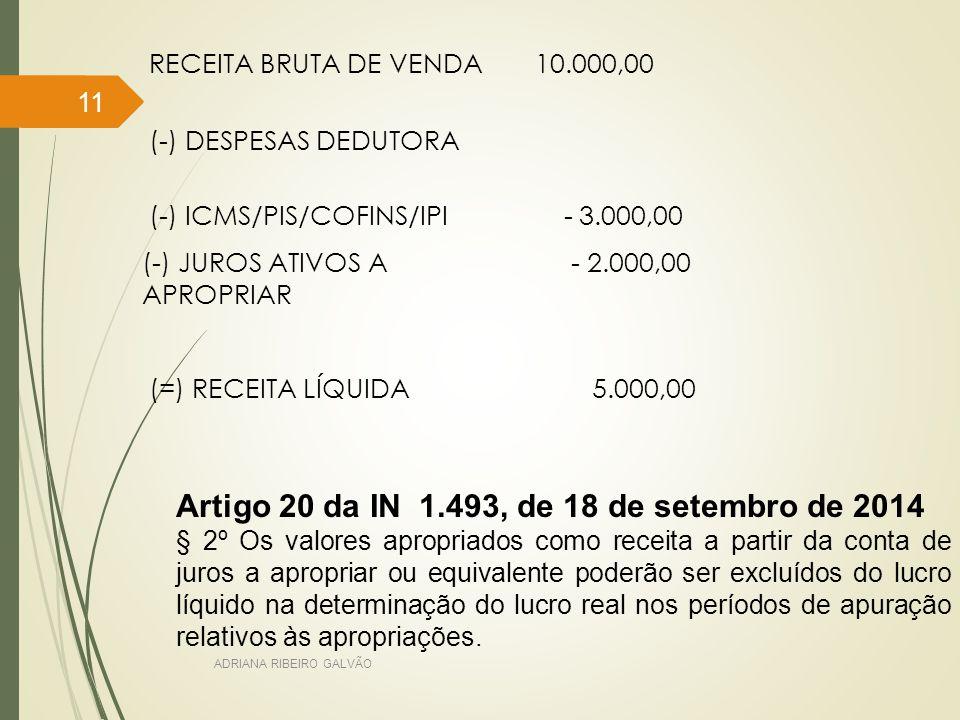 Artigo 20 da IN 1.493, de 18 de setembro de 2014