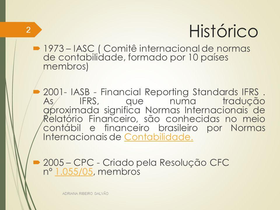 Histórico 1973 – IASC ( Comitê internacional de normas de contabilidade, formado por 10 países membros)