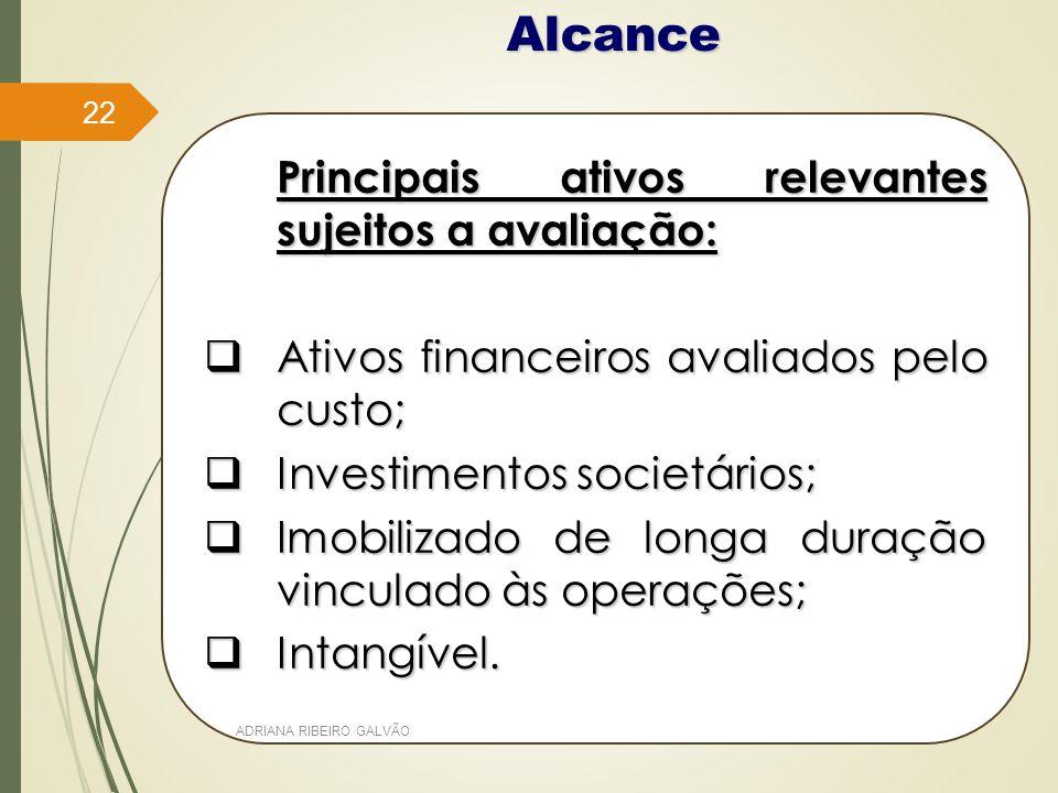 Alcance Principais ativos relevantes sujeitos a avaliação: