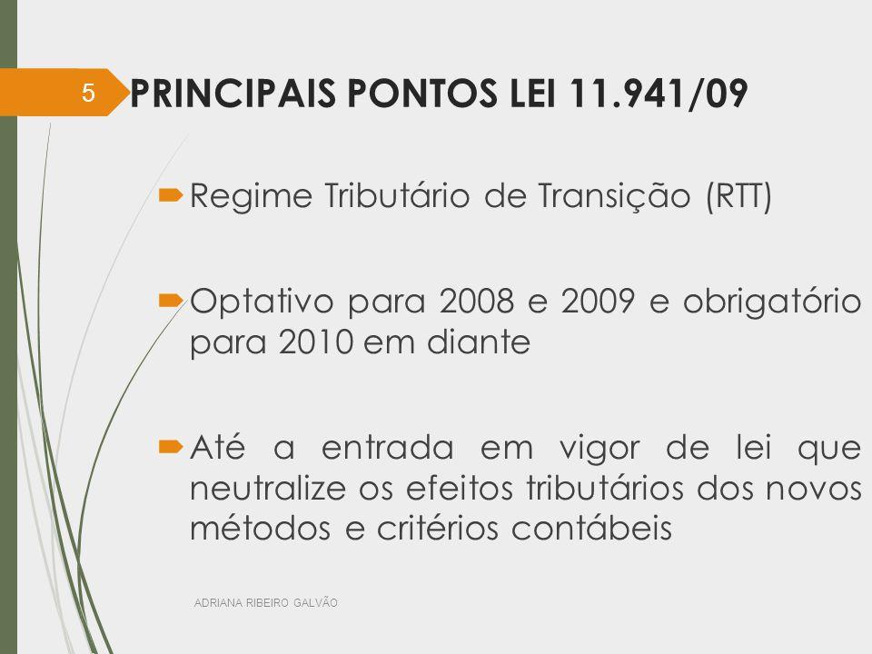 PRINCIPAIS PONTOS LEI 11.941/09