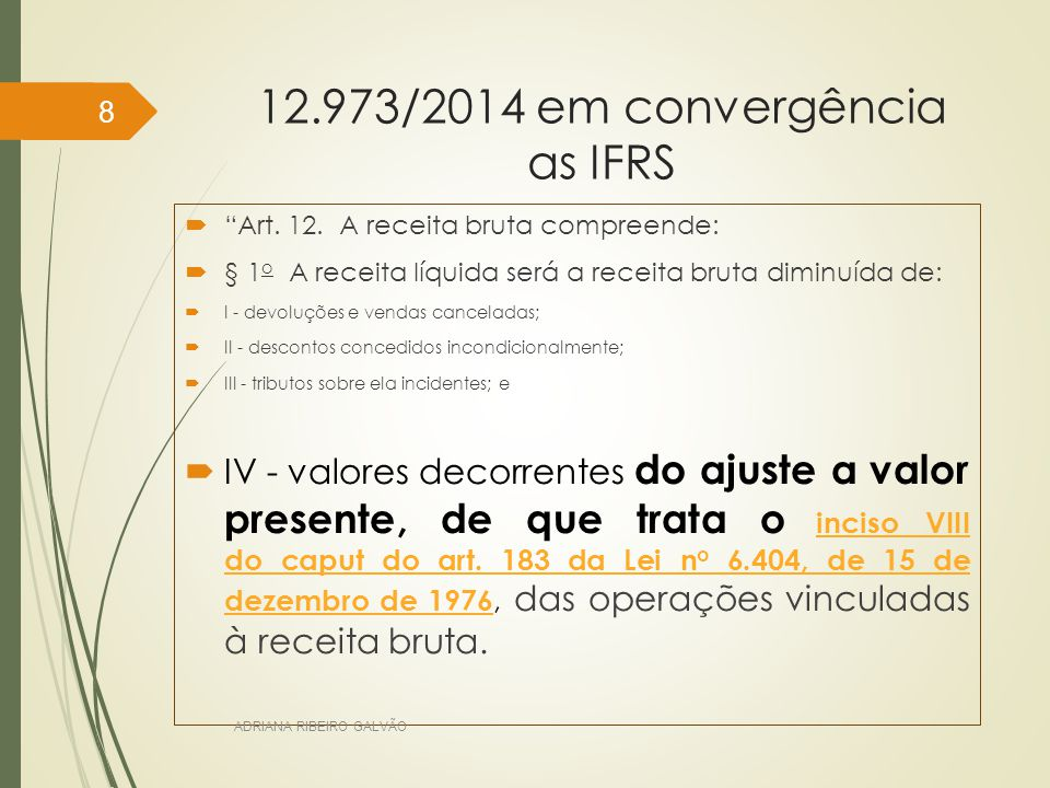 12.973/2014 em convergência as IFRS