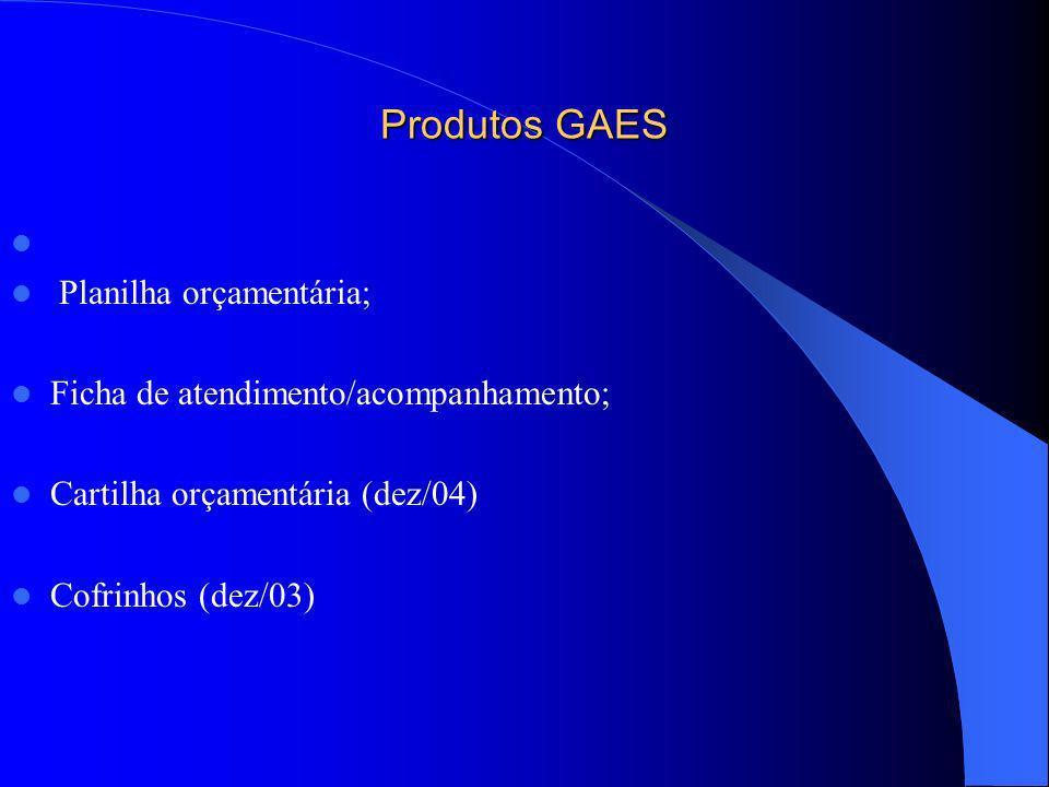 Produtos GAES Planilha orçamentária;