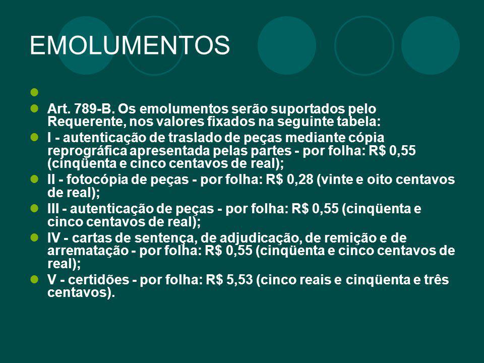 EMOLUMENTOS Art. 789-B. Os emolumentos serão suportados pelo Requerente, nos valores fixados na seguinte tabela: