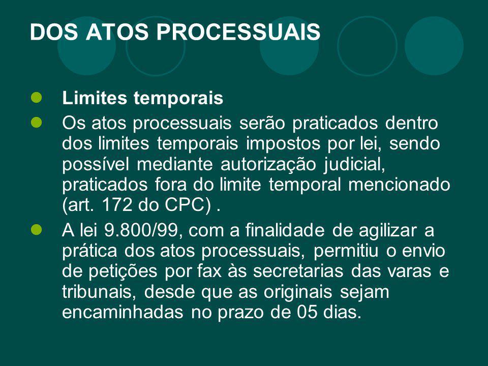 DOS ATOS PROCESSUAIS Limites temporais