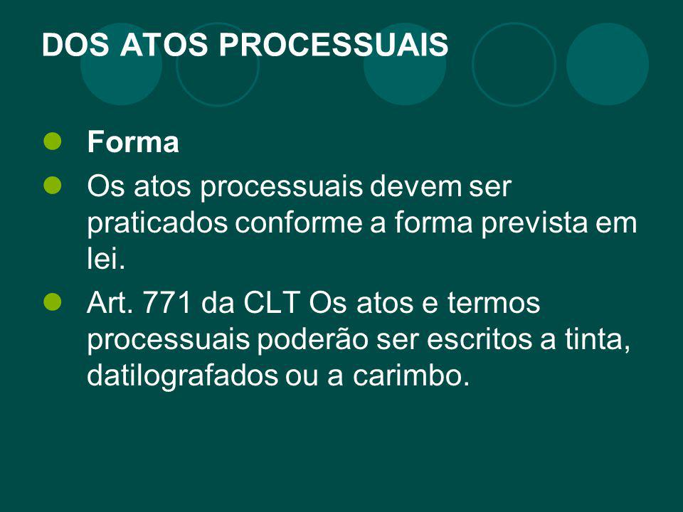DOS ATOS PROCESSUAIS Forma
