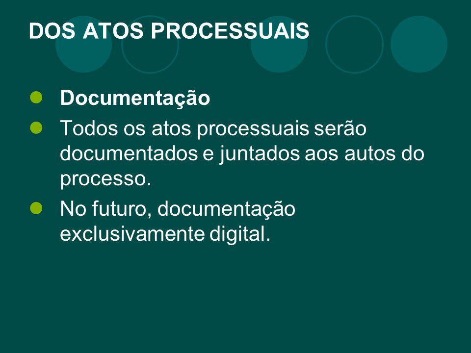 DOS ATOS PROCESSUAIS Documentação