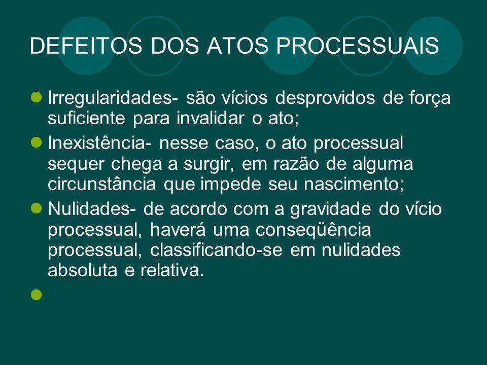 DEFEITOS DOS ATOS PROCESSUAIS