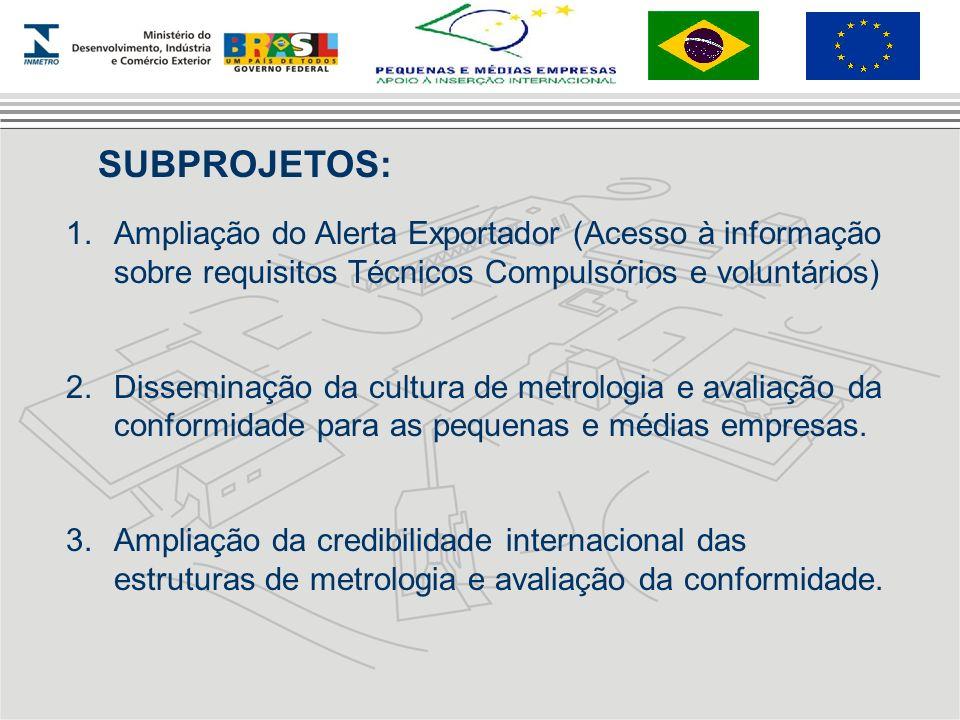 SUBPROJETOS:Ampliação do Alerta Exportador (Acesso à informação sobre requisitos Técnicos Compulsórios e voluntários)