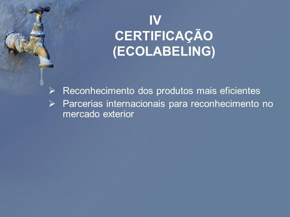 IV CERTIFICAÇÃO (ECOLABELING)
