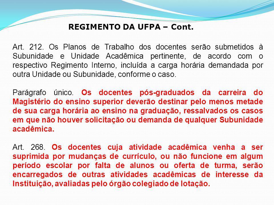 REGIMENTO DA UFPA – Cont.