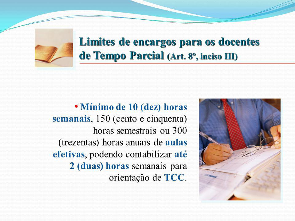 Limites de encargos para os docentes de Tempo Parcial (Art