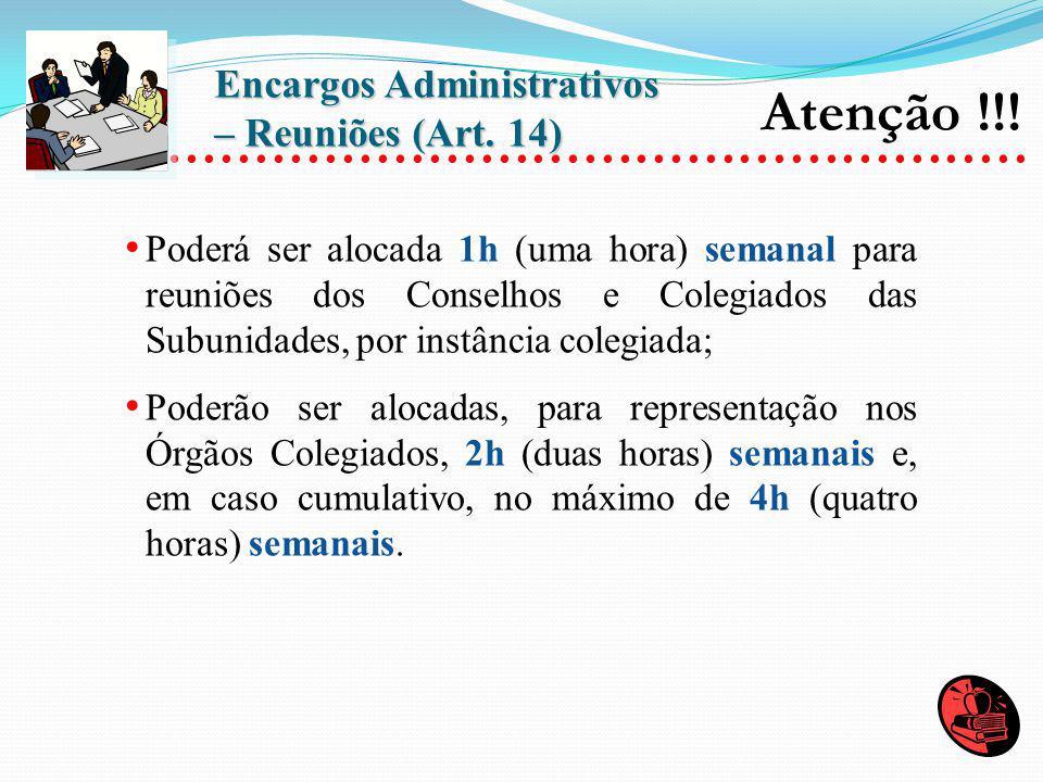 Encargos Administrativos – Reuniões (Art. 14)