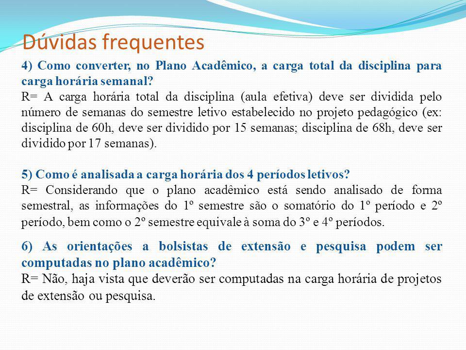 Dúvidas frequentes 4) Como converter, no Plano Acadêmico, a carga total da disciplina para carga horária semanal