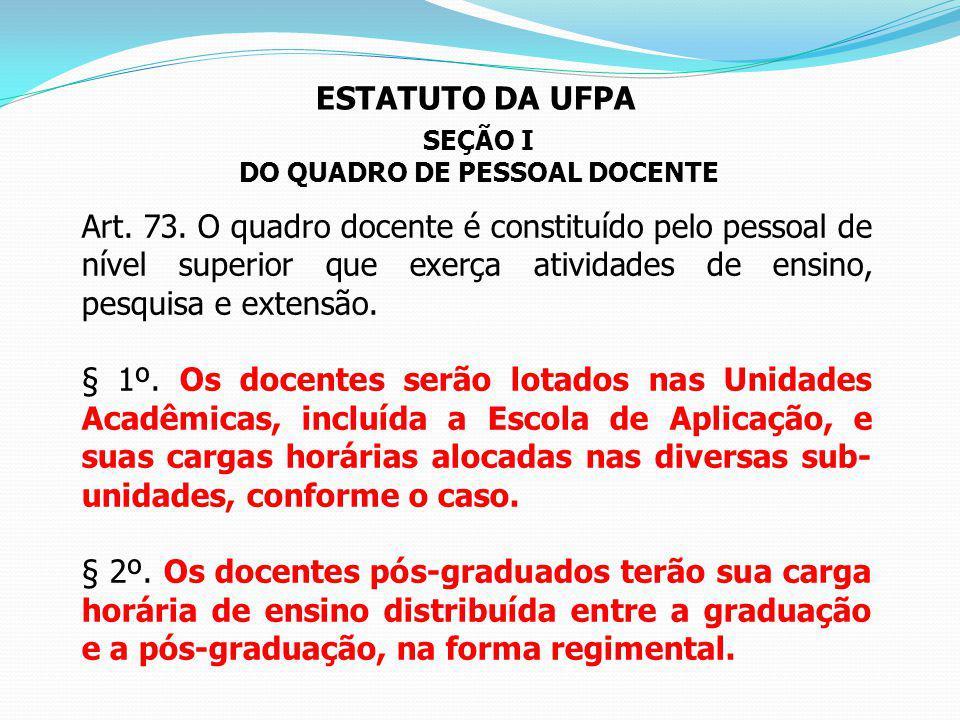 DO QUADRO DE PESSOAL DOCENTE
