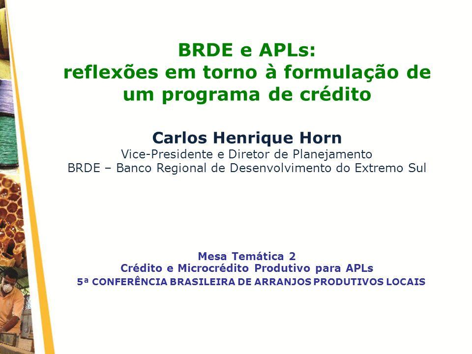 BRDE e APLs: reflexões em torno à formulação de um programa de crédito