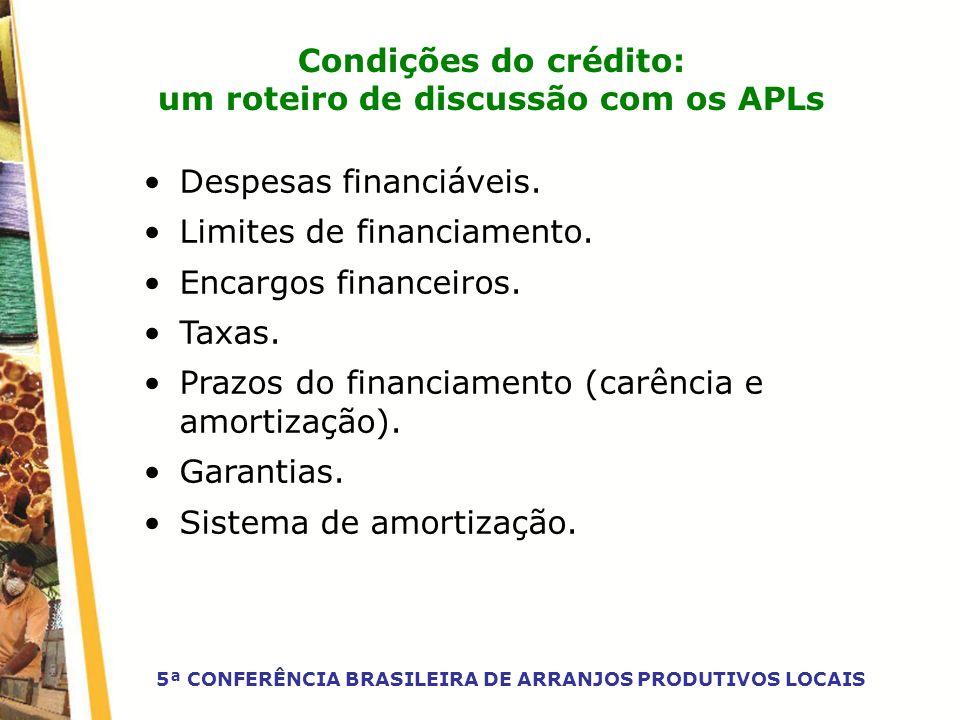 Condições do crédito: um roteiro de discussão com os APLs