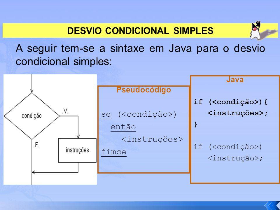 DESVIO CONDICIONAL SIMPLES