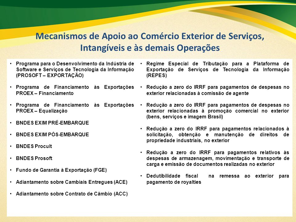 Mecanismos de Apoio ao Comércio Exterior de Serviços, Intangíveis e às demais Operações