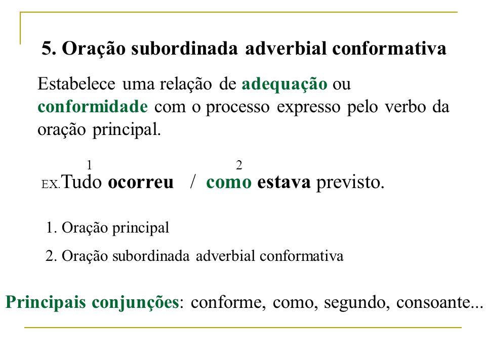 5. Oração subordinada adverbial conformativa