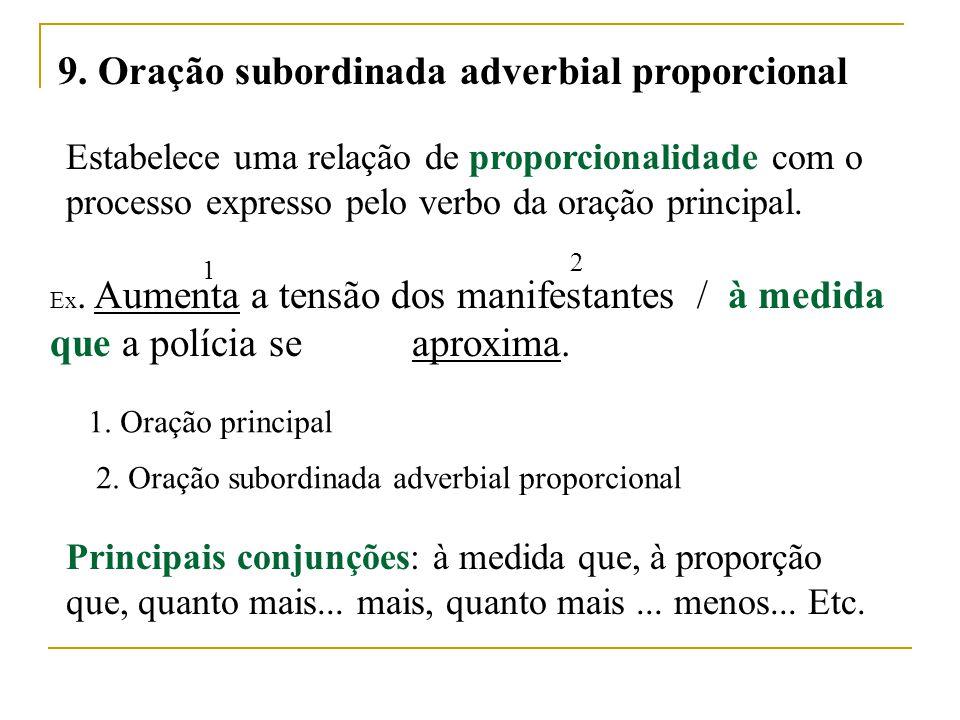 9. Oração subordinada adverbial proporcional