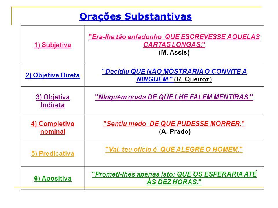 Orações Substantivas 1) Subjetiva
