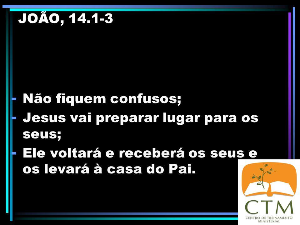JOÃO, 14.1-3 Não fiquem confusos; Jesus vai preparar lugar para os seus; Ele voltará e receberá os seus e os levará à casa do Pai.