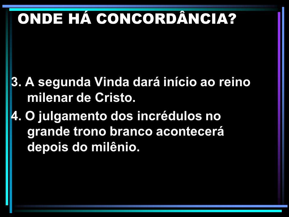 ONDE HÁ CONCORDÂNCIA 3. A segunda Vinda dará início ao reino milenar de Cristo.