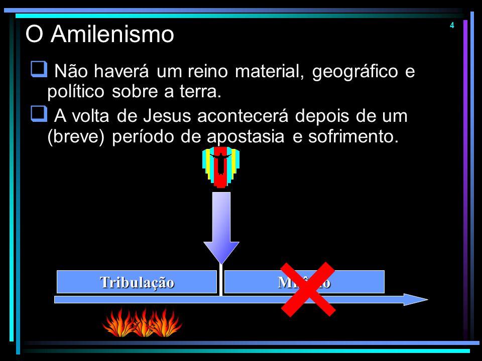 O Amilenismo Não haverá um reino material, geográfico e político sobre a terra.