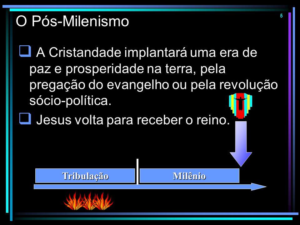 O Pós-Milenismo A Cristandade implantará uma era de paz e prosperidade na terra, pela pregação do evangelho ou pela revolução sócio-política.