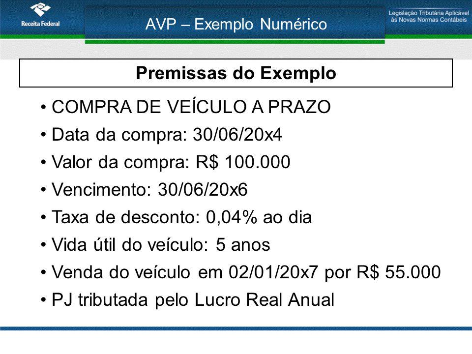 COMPRA DE VEÍCULO A PRAZO Data da compra: 30/06/20x4