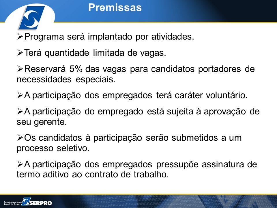 Premissas Programa será implantado por atividades.